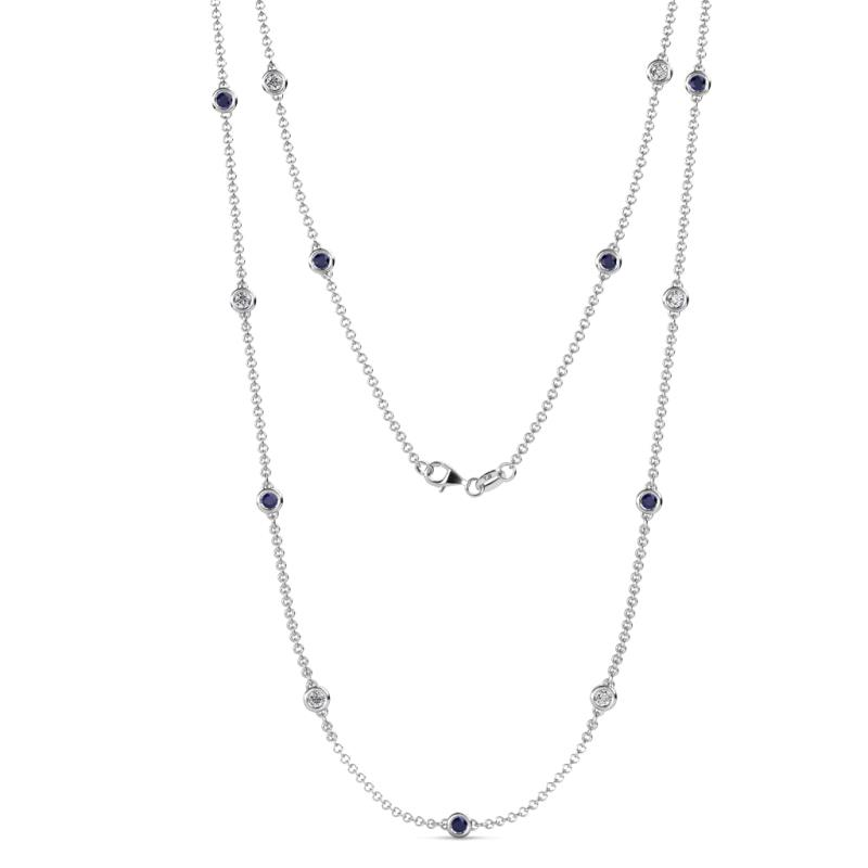 Lien (13 Stn/3mm) Blue Sapphire and Diamond on Cable Necklace - 13 Station Blue Sapphire and Diamond (SI2-I1, G-H) on Cable Necklace 1.34 Carat tw in 14K White Gold.