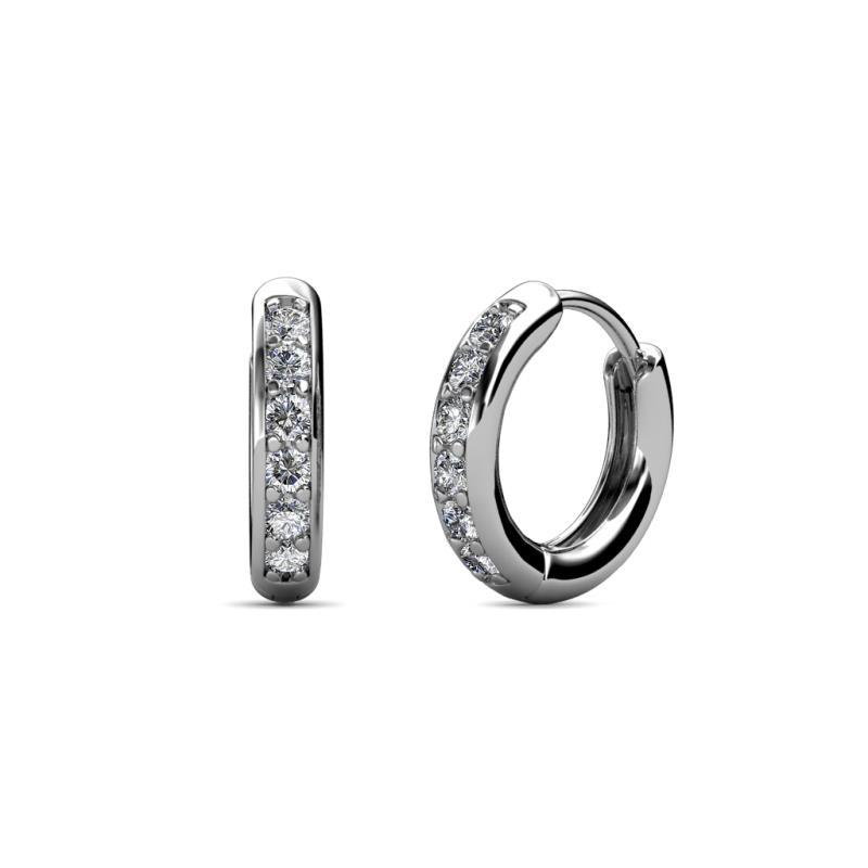 Cianna Petite Diamond Hoop Earrings - Petite Diamond (SI2-I1, G-H) Huggies Hoop Earrings 0.24 Carat tw in 14K White Gold.