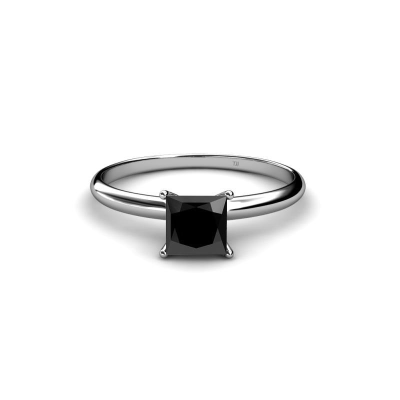 3.90 Carat Princess Cut Black Diamond Solitaire Engagement Ring