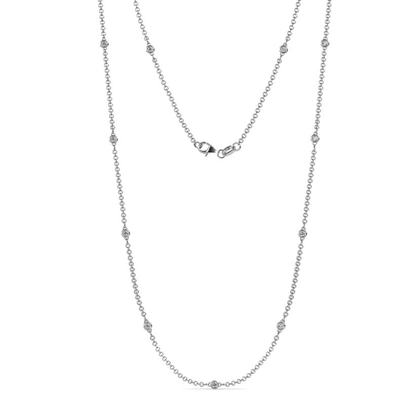 Asta (11/2mm) Petite Diamond on Cable Necklace - 11 Station Petite Diamond on Cable Necklace (SI2-I1, G-H) 0.33 Carat tw in 14K White Gold.