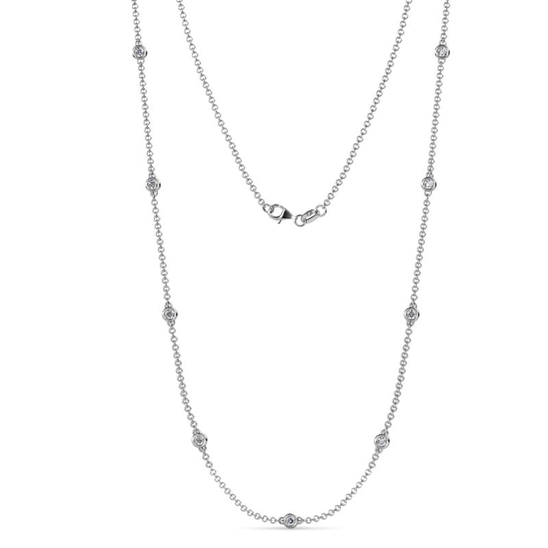 Adia (9 Stn/2.7mm) Diamond on Cable Necklace - 9 Stone Diamond Womens Station Necklace 0.63 ctw 14K White Gold
