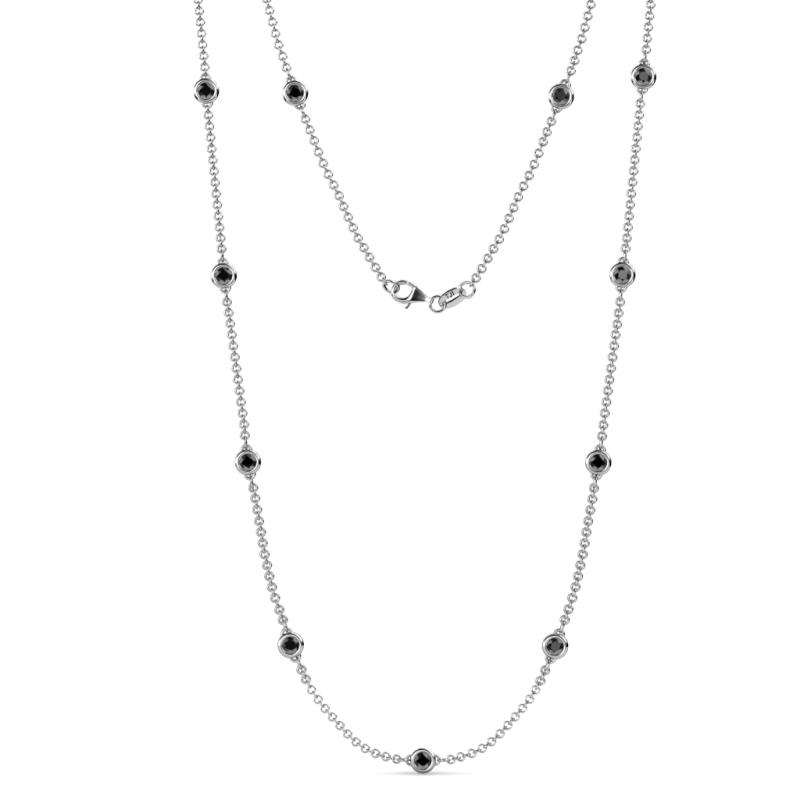 e9ccb564a71fe8 (11 Stn/4mm) Black Diamond on Cable Necklace Adorn your Neckline with  Expertly crafted Necklace Stationed with 11 Bezel set Black Diamond of 2.97  cttw ...