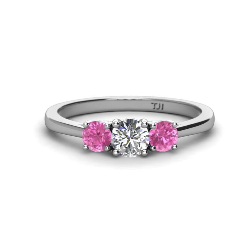 Quyen 5.00 mm Diamond and Pink Sapphire Three Stone Ring - Diamond (SI2-I1, G-H) and Pink Sapphire Three Stone Ring 1.03 Carat tw in 14K White Gold.