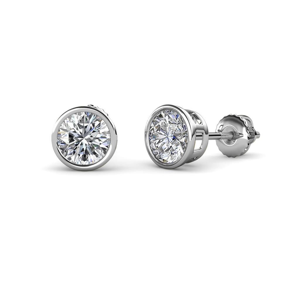 Carys Diamond (4mm) Solitaire Stud Earrings - Diamond Bezel Set Solitaire Stud Earrings (SI2-I1, G-H) 0.50 cttw in 14K White Gold.