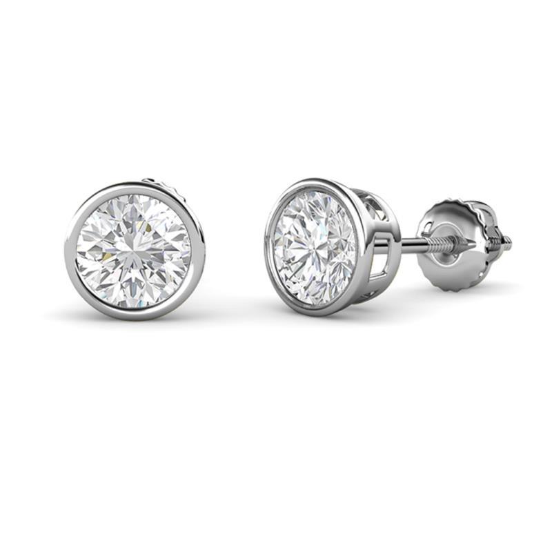 14Kt White Gold White Sapphire 6mm Bezel Round Stud Earrings