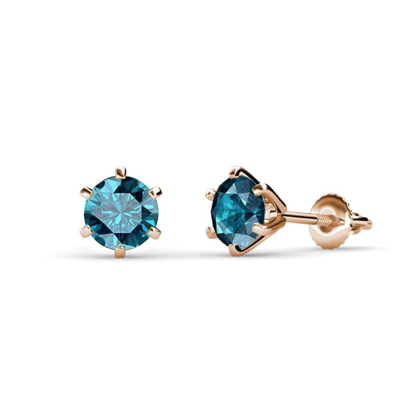 f88f8beac London Blue Topaz Six Prong Martini Solitaire Womens Stud Earrings ...