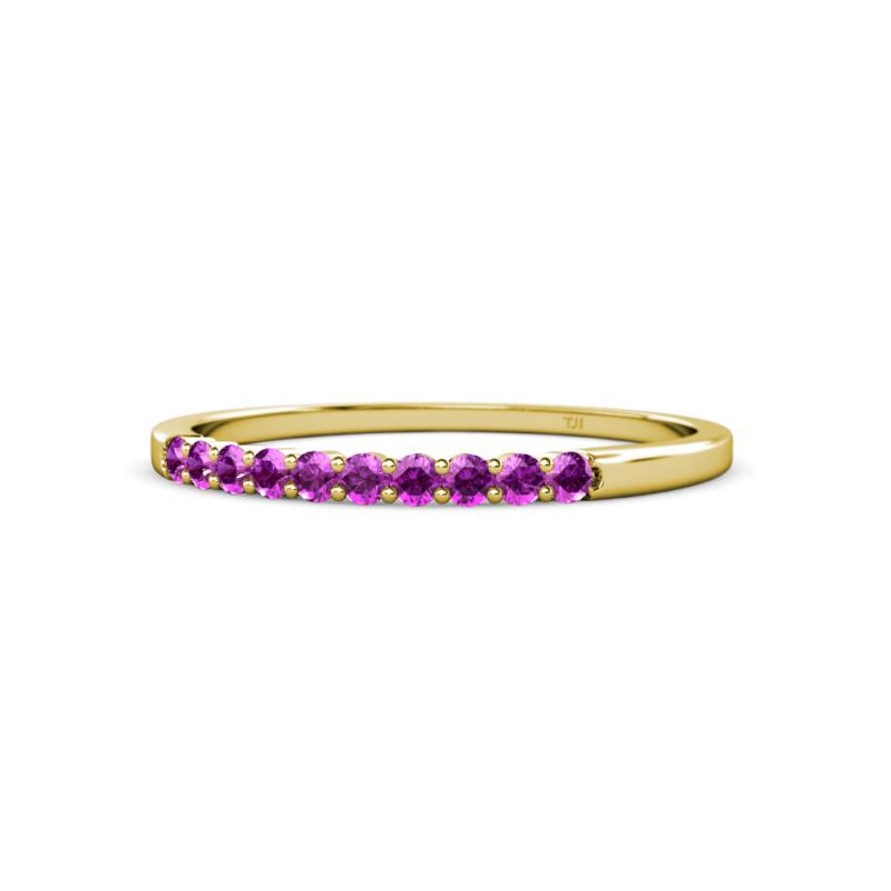 Clara 2.00 mm Amethyst Wedding Band - Round Amethyst 10 Stone Women Stackable Wedding Band Ring 14K Yellow Gold.