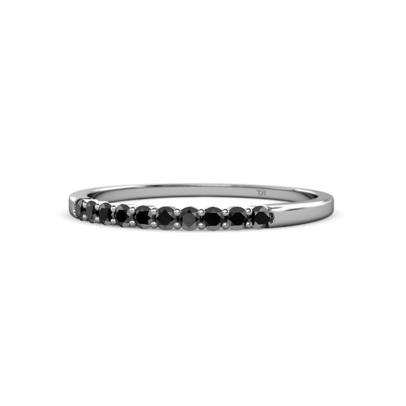 Clara 2.00 mm Black Diamond Wedding Band - Black Diamond 10 Stone Womens Wedding Band Stackable 0.32 ctw 925 Sterling Silver