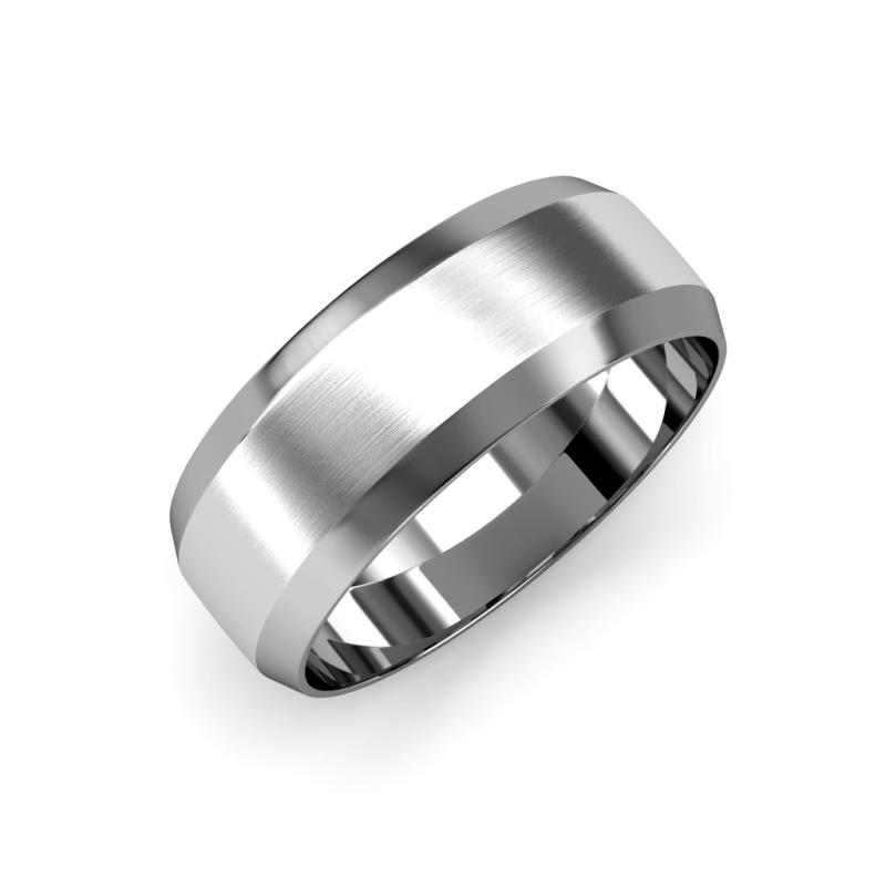 Feivel Satin Finish 4 mm Beveled Edge Wedding Band - Satin Finish 4 mm Beveled Edge Unisex Wedding Band 14K White Gold