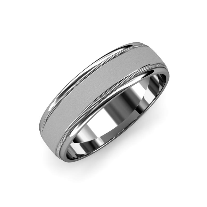 Bryon Glass Finish 4 mm Milgrain Wedding Band - Glass Finish 4 mm Milgrain Unisex Wedding Band 14K White Gold