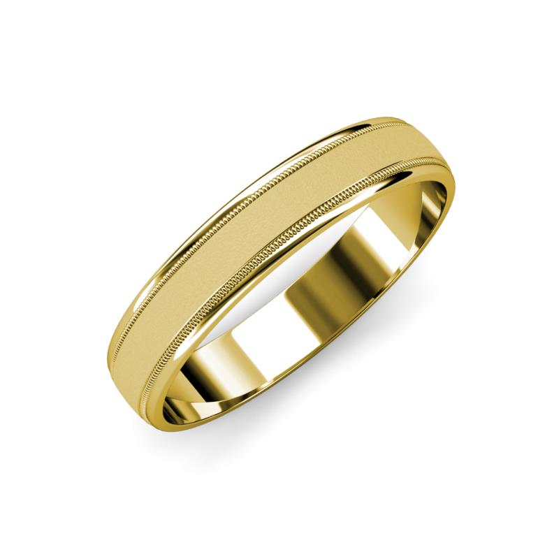 Bryon Glass Finish 4.00 mm Milgrain Wedding Band - Glass Finish 4.00 mm Milgrain Unisex Wedding Band 14K Yellow Gold.