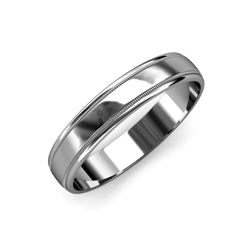 Bryon High Polish 4 mm Milgrain Wedding Band - High Polish 4 mm Milgrain Unisex Wedding Band 14K White Gold