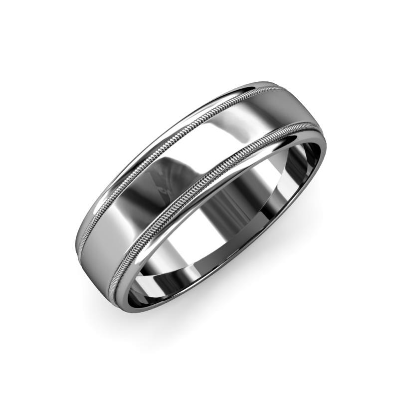 Bryon High Polish 4 mm Milgrain Wedding Band - High Polish 4 mm Milgrain Unisex Wedding Band 14K White Gold