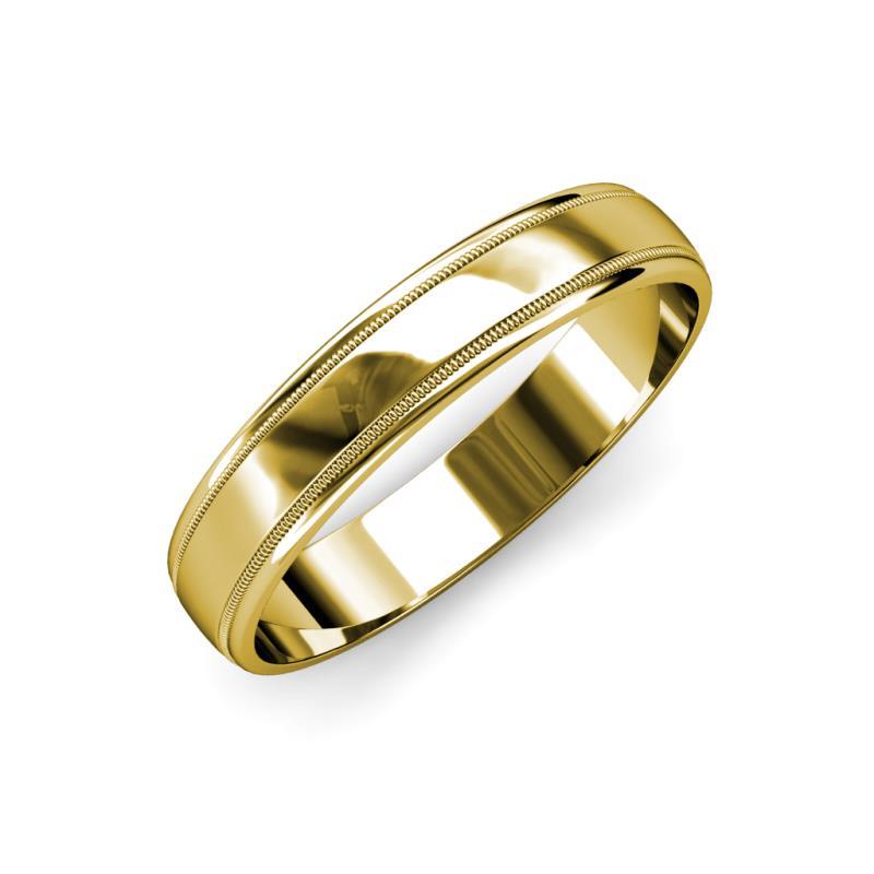 Bryon High Polish 4 mm Milgrain Wedding Band - High Polish 4 mm Milgrain Unisex Wedding Band 14K Yellow Gold