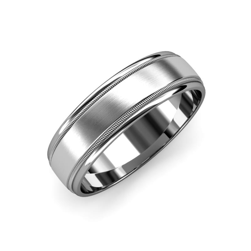 Bryon Satin Finish 4 mm Milgrain Wedding Band - Satin Finish 4 mm Milgrain Unisex Wedding Band 14K White Gold