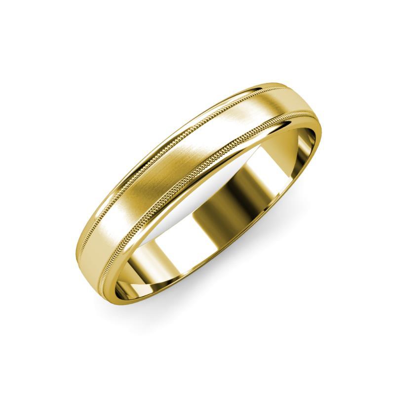 Bryon Satin Finish 4 mm Milgrain Wedding Band - Satin Finish 4 mm Milgrain Unisex Wedding Band 14K Yellow Gold