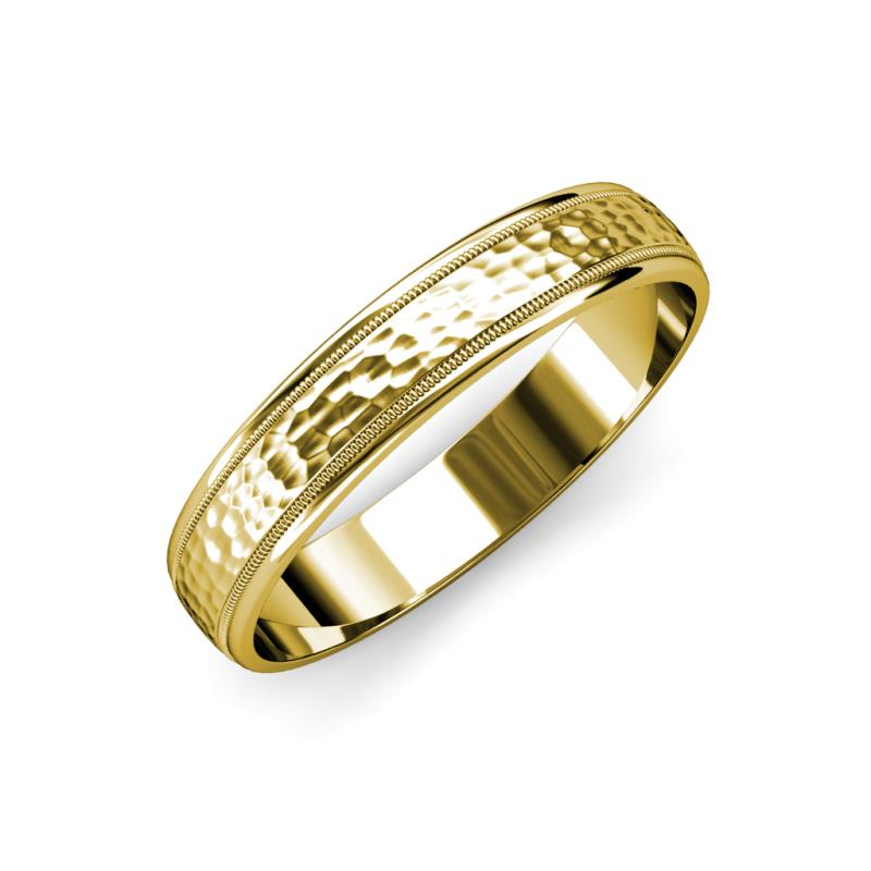 Bryon Hammer Finish 4 mm Milgrain Wedding Band - Hammer Finish 4 mm Milgrain Unisex Wedding Band 14K Yellow Gold