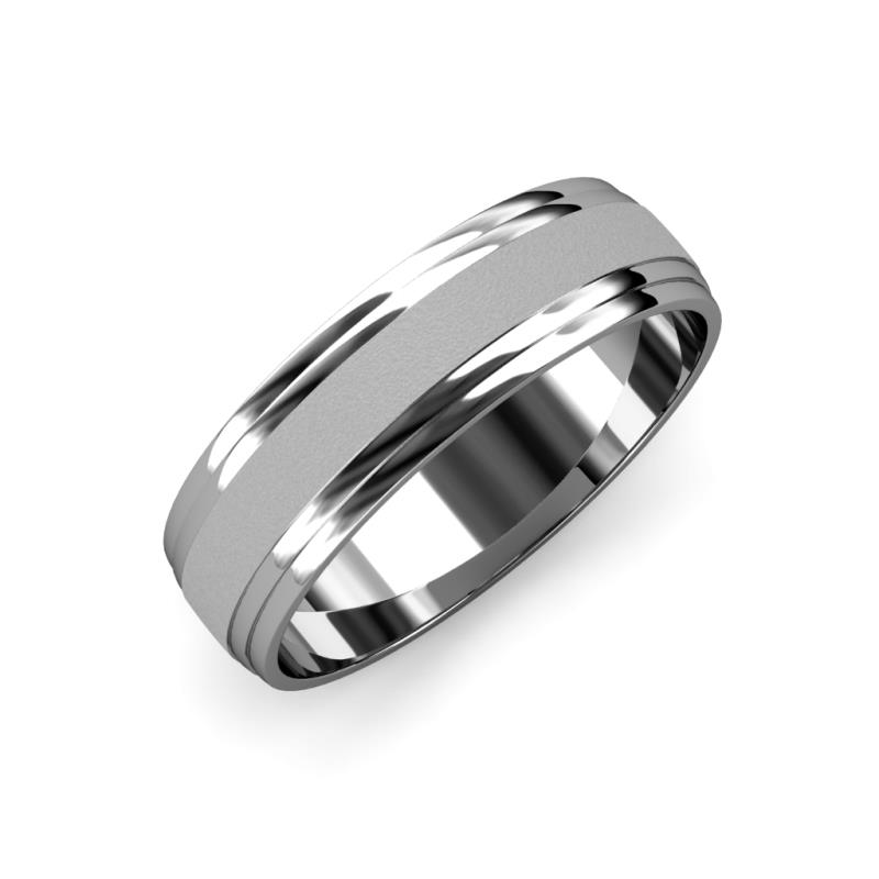 Alain Glass Finish 4 mm Step Edge Wedding Band - Glass Finish 4 mm Step Edge Unisex Wedding Band 14K White Gold