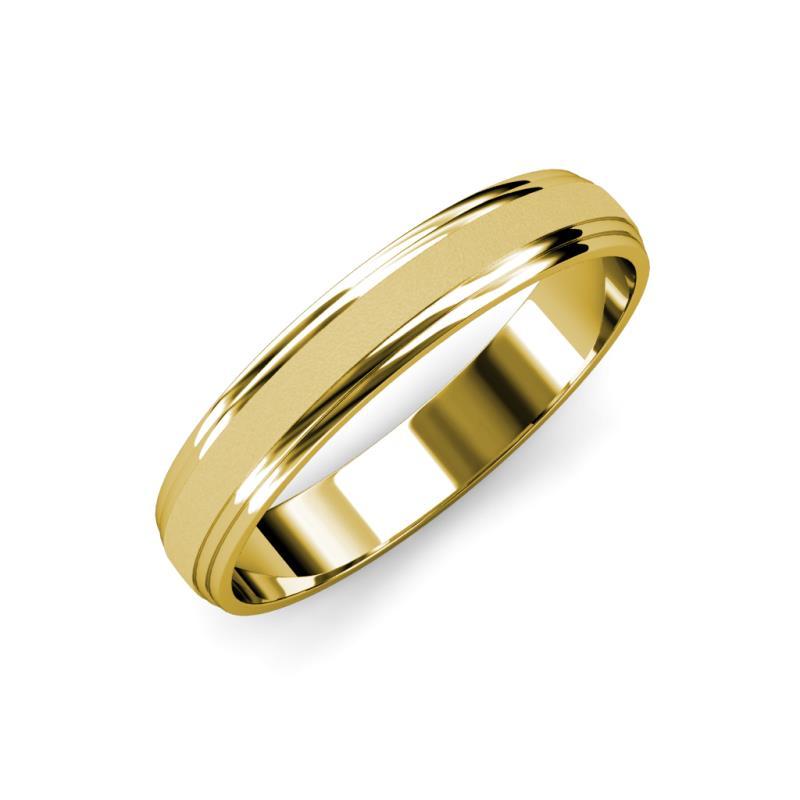 Alain Glass Finish 4 mm Step Edge Wedding Band - Glass Finish 4 mm Step Edge Unisex Wedding Band 14K Yellow Gold