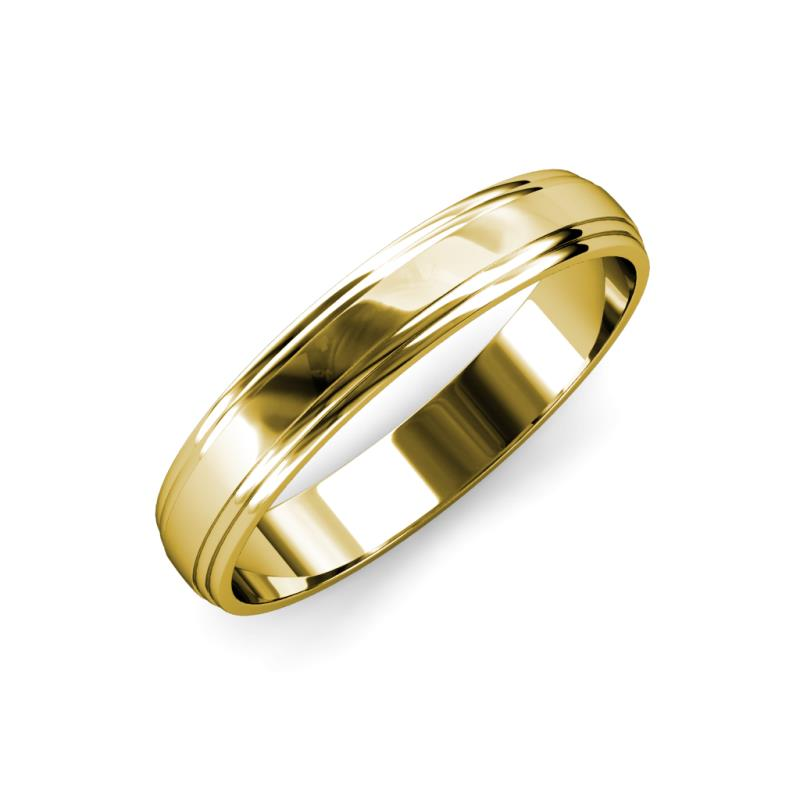 Alain High Polish 4 mm Step Edge Wedding Band - High Polish 4 mm Step Edge Unisex Wedding Band 14K Yellow Gold