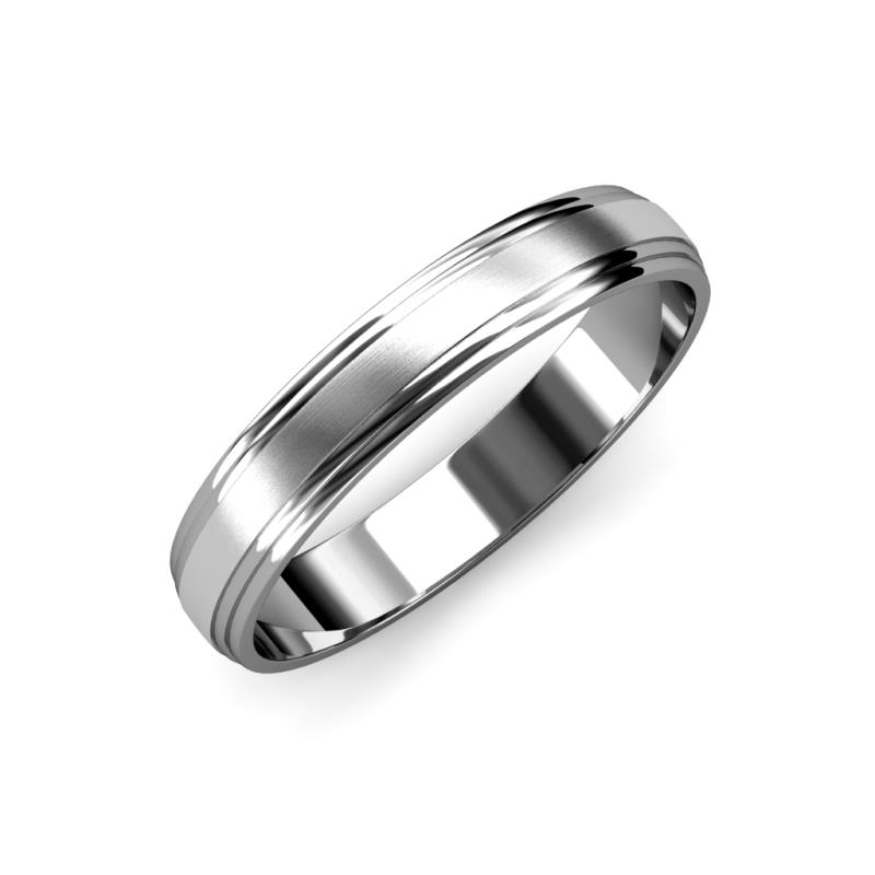 Alain Satin Finish 4 mm Step Edge Wedding Band - Satin Finish 4 mm Step Edge Unisex Wedding Band 14K White Gold
