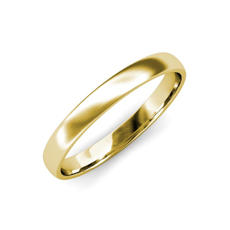 Valerio Satin Finish 2.00 mm Domed Wedding Band - Satin Finish 2.00 mm Plain Domed Unisex Wedding Band 14K Yellow Gold
