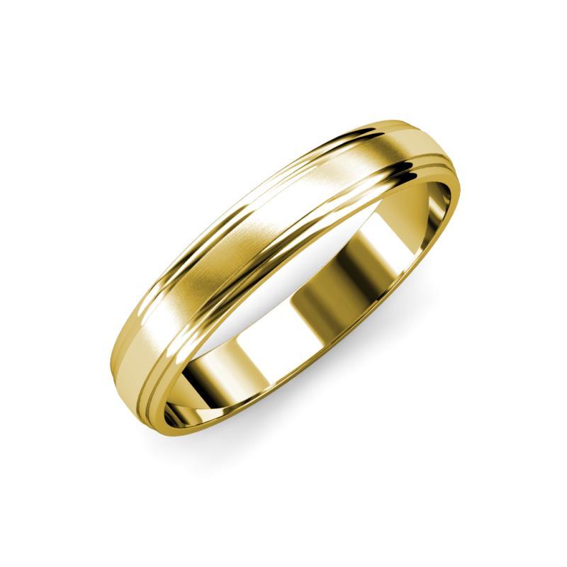 Alain Satin Finish 4 mm Step Edge Wedding Band - Satin Finish 4 mm Step Edge Unisex Wedding Band 14K Yellow Gold