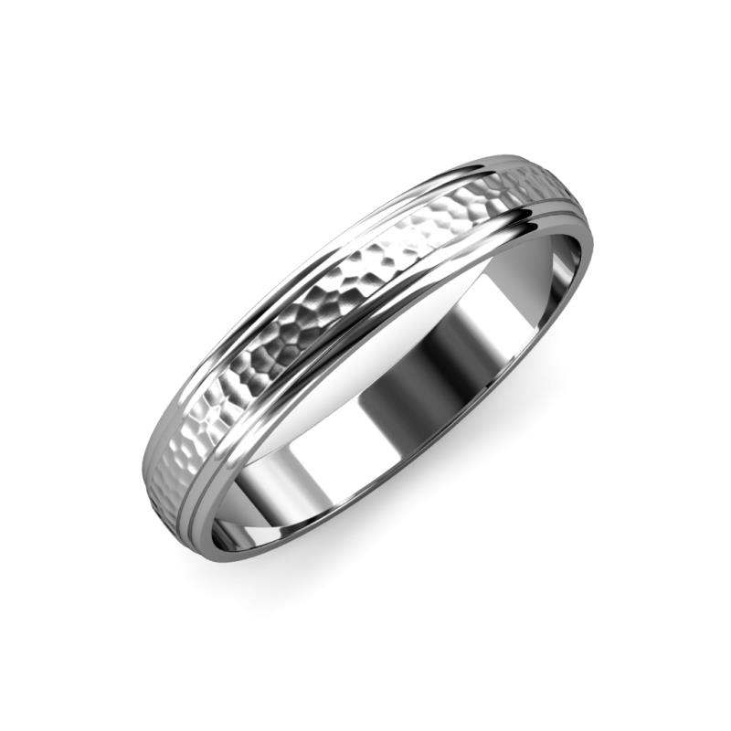 Alain Hammer Finish 4 mm Step Edge Wedding Band - Hammer Finish 4 mm Step Edge Unisex Wedding Band 14K White Gold