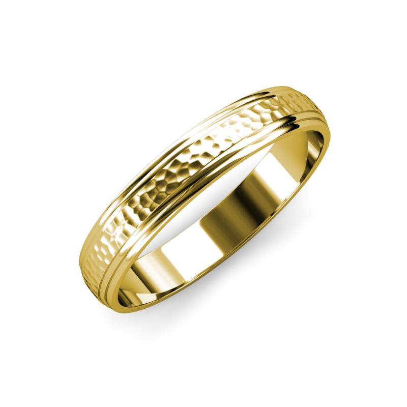 Alain Hammer Finish 4.00 mm Step Edge Wedding Band - Hammer Finish 4.00 mm Step Edge Unisex Wedding Band 14K Yellow Gold