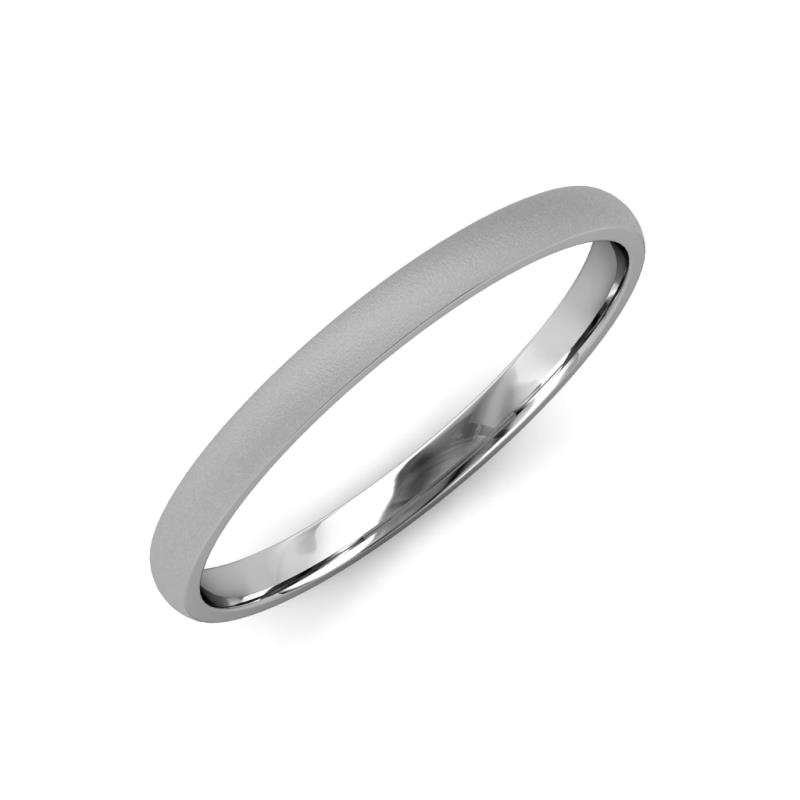 Valerio Glass Finish 2 mm Domed Wedding Band - Glass Finish 2 mm Plain Domed Unisex Wedding Band 18K White Gold