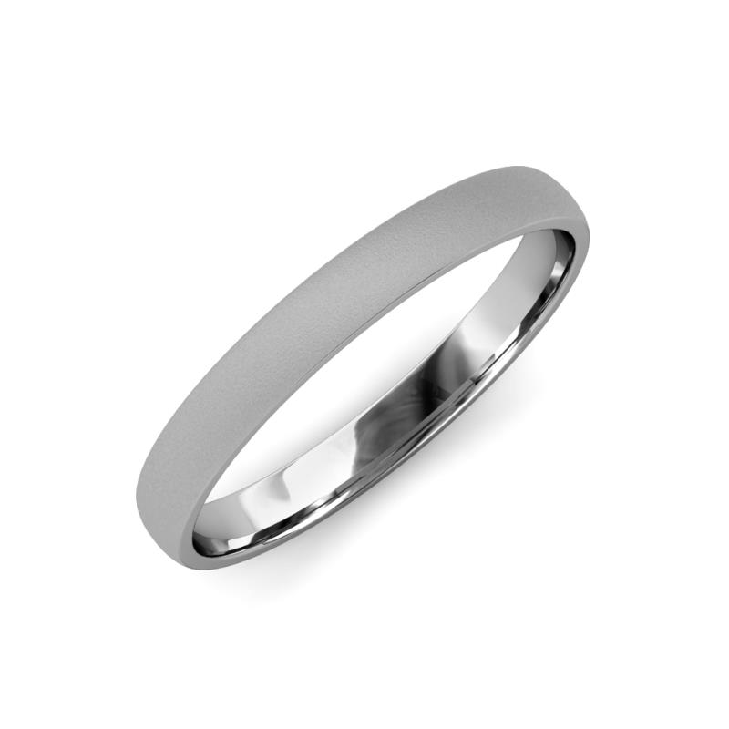 Valerio Glass Finish 2.00 mm Domed Wedding Band - Glass Finish 2.00 mm Plain Domed Unisex Wedding Band 18K White Gold