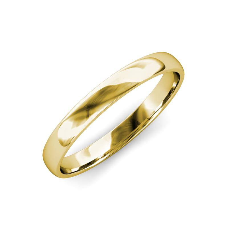 Valerio High Polish 2 mm Domed Wedding Band - High Polish 2 mm Plain Domed Unisex Wedding Band 18K Yellow Gold