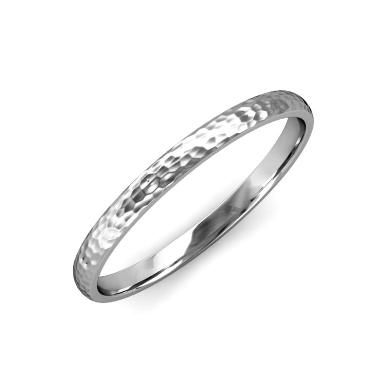 Valerio Hammer Finish 2 mm Domed Wedding Band - Hammer Finish 2 mm Domed Unisex Wedding Band 18K White Gold