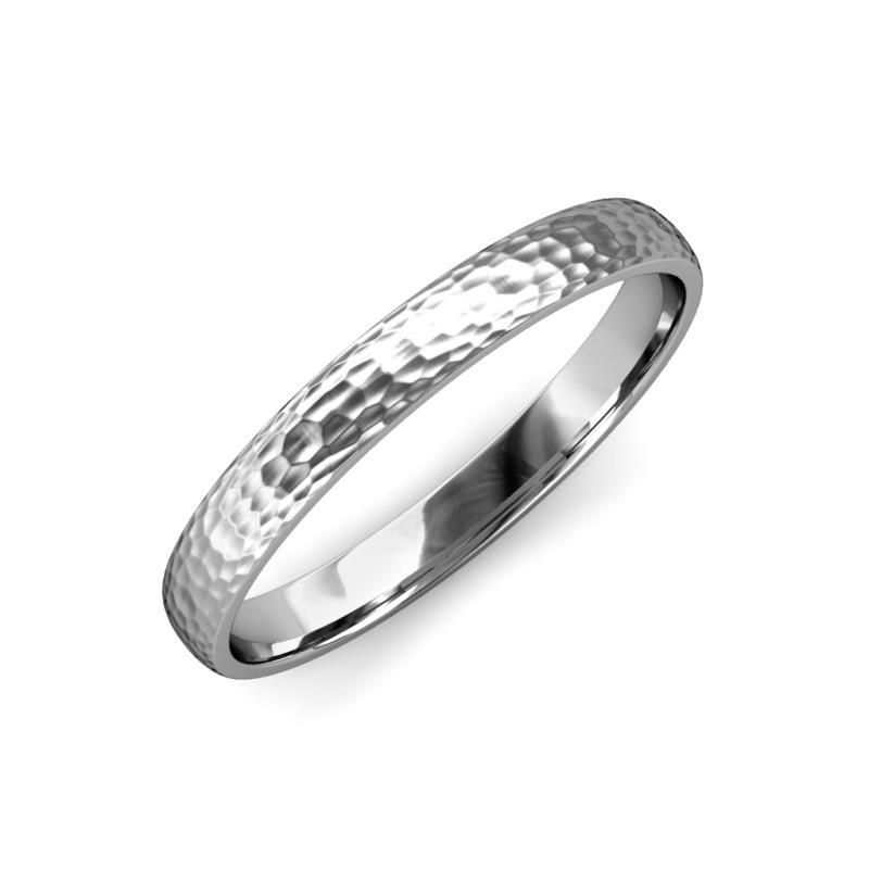 Valerio Hammer Finish 2 mm Domed Wedding Band - Hammer Finish 2 mm Domed Unisex Wedding Band 18K White Gold