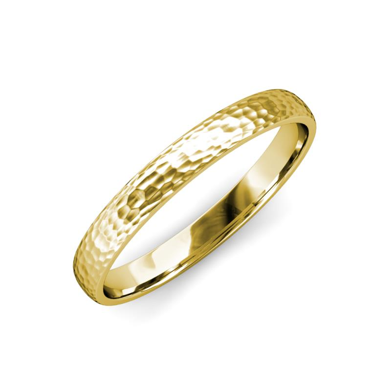 Valerio Hammer Finish 2 mm Domed Wedding Band - Hammer Finish 2 mm Domed Unisex Wedding Band 18K Yellow Gold