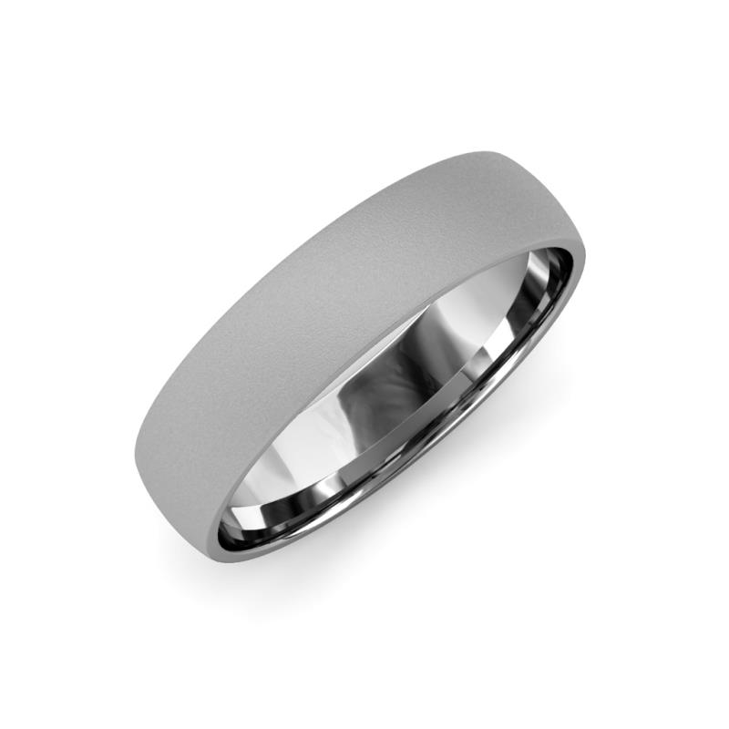 Valerio Glass Finish 2 mm Domed Wedding Band - Glass Finish 2 mm Plain Domed Unisex Wedding Band Platinum