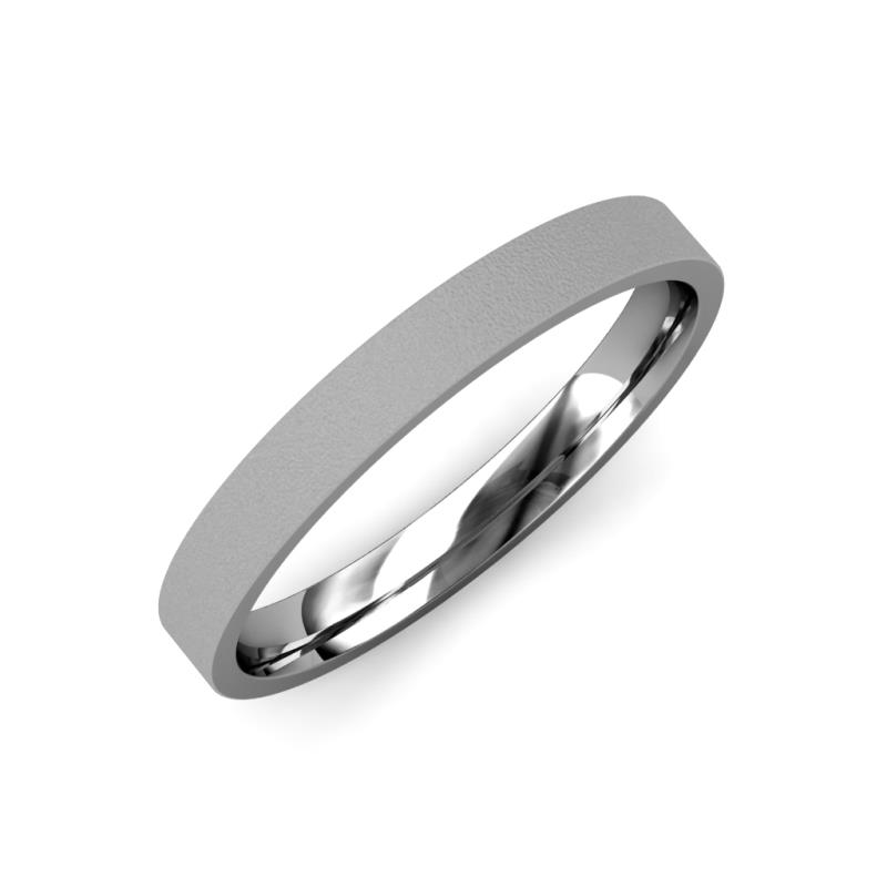Aidan Glass Finish 2 mm Flat Comfort Fit Wedding Band - Glass Finish 2 mm Flat Comfort Fit Unisex Wedding Band 18K White Gold