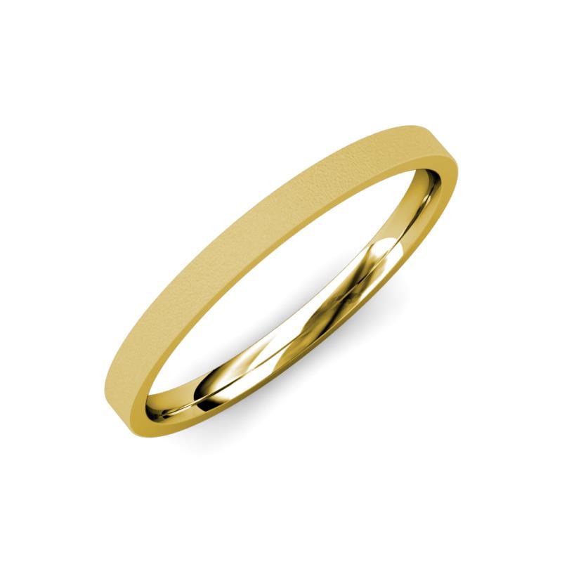 Aidan Glass Finish 2.00 mm Flat Comfort Fit Wedding Band - Glass Finish 2.00 mm Flat Comfort Fit Unisex Wedding Band 18K Yellow Gold