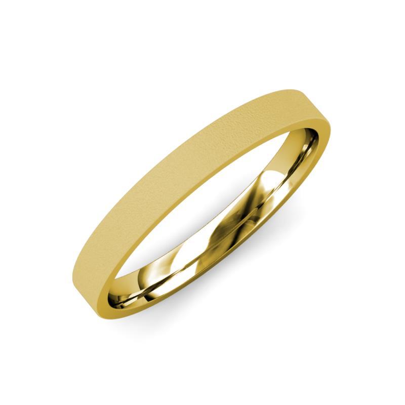 Aidan Glass Finish 2 mm Flat Comfort Fit Wedding Band - Glass Finish 2 mm Flat Comfort Fit Unisex Wedding Band 18K Yellow Gold