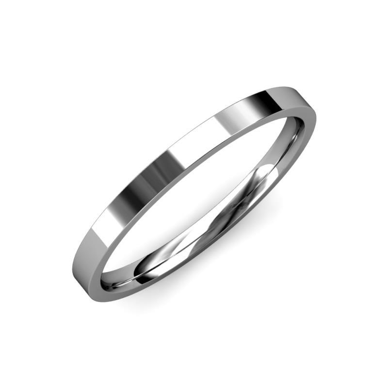 Aidan High Polish 2 mm Flat Comfort Fit Wedding Band - High Polish 2 mm Flat Comfort Fit Unisex Wedding Band 18K White Gold
