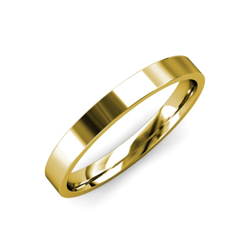 Aidan High Polish 2 mm Flat Comfort Fit Wedding Band - High Polish 2 mm Flat Comfort Fit Unisex Wedding Band 18K Yellow Gold