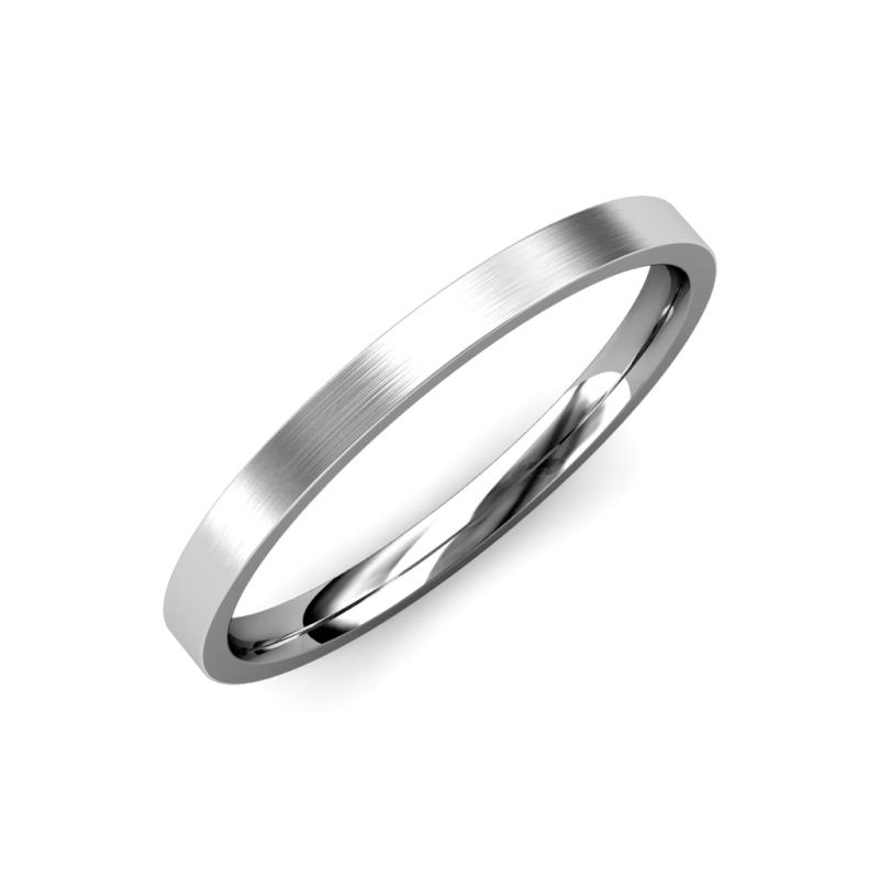 Aidan Satin Finish 2 mm Flat Comfort Fit Wedding Band - Satin Finish 2 mm Flat Comfort Fit Unisex Wedding Band 18K White Gold
