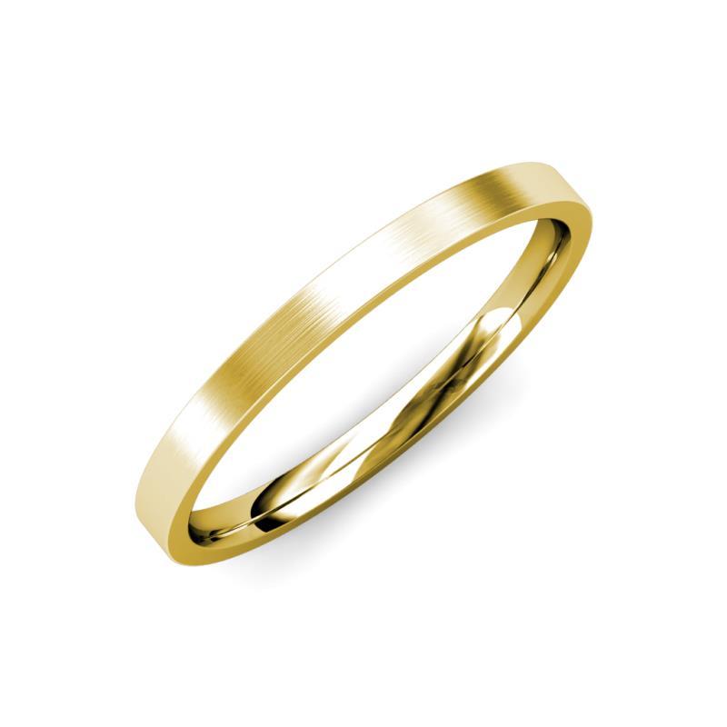 Aidan Satin Finish 2 mm Flat Comfort Fit Wedding Band - Satin Finish 2 mm Flat Comfort Fit Unisex Wedding Band 18K Yellow Gold