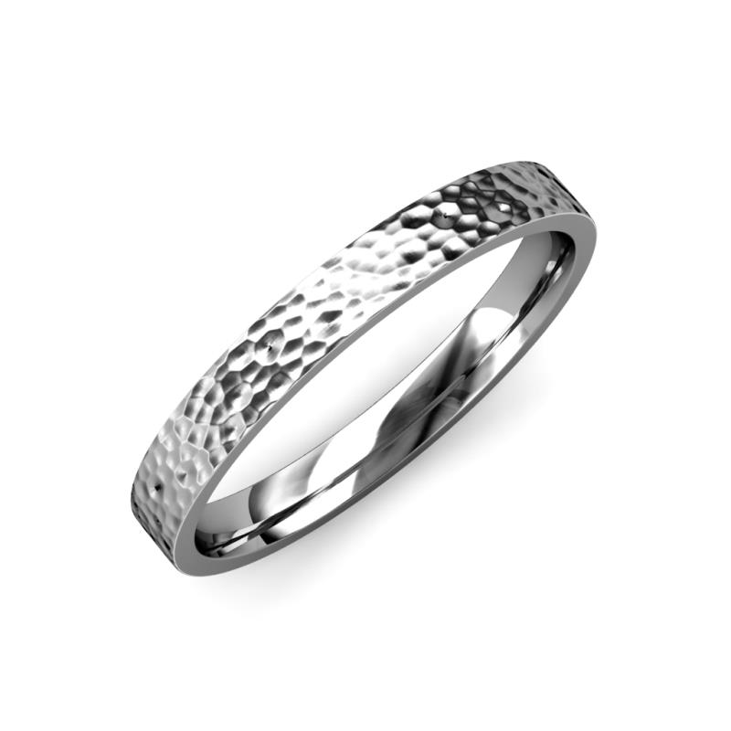 Aidan Hammer Finish 2 mm Flat Comfort Fit Wedding Band - Hammer Finish 2 mm Flat Comfort Fit Unisex Wedding Band 18K White Gold