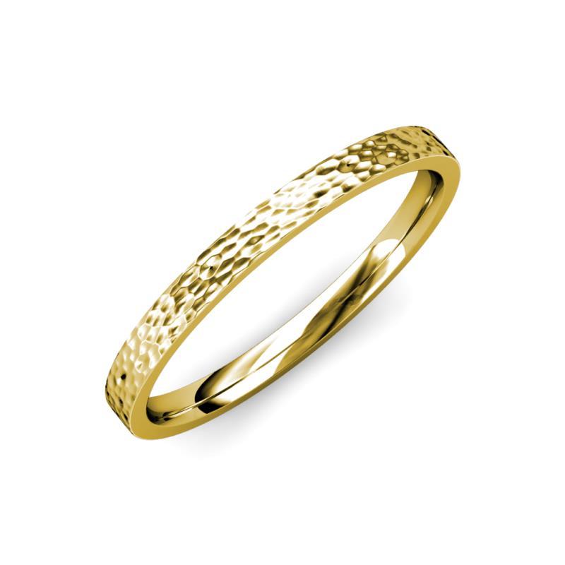 Aidan Hammer Finish 2.00 mm Flat Comfort Fit Wedding Band - Hammer Finish 2.00 mm Flat Comfort Fit Unisex Wedding Band 18K Yellow Gold