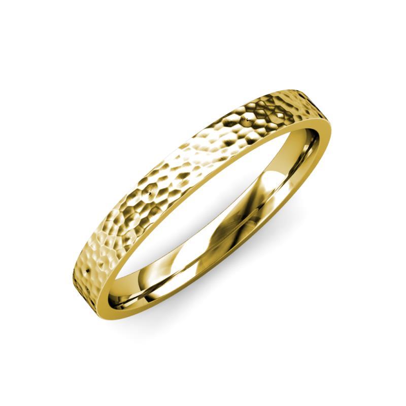 Aidan Hammer Finish 2 mm Flat Comfort Fit Wedding Band - Hammer Finish 2 mm Flat Comfort Fit Unisex Wedding Band 18K Yellow Gold