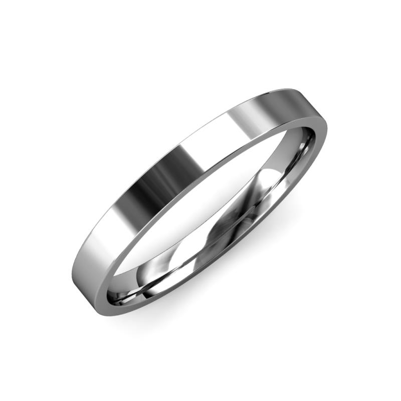 Aidan High Polish 2 mm Flat Comfort Fit Wedding Band - High Polish 2 mm Flat Comfort Fit Unisex Wedding Band 14K White Gold