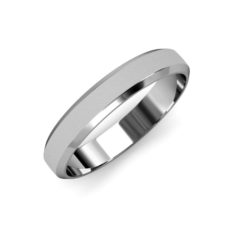 Feivel Glass Finish 4 mm Beveled Edge Wedding Band - Glass Finish 4 mm Beveled Edge Unisex Wedding Band Platinum