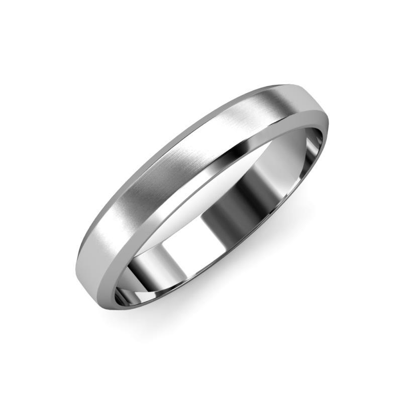 Feivel Satin Finish 4 mm Beveled Edge Wedding Band - Satin Finish 4 mm Beveled Edge Unisex Wedding Band Platinum