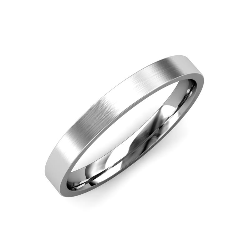 Aidan Satin Finish 2 mm Flat Comfort Fit Wedding Band - Satin Finish 2 mm Flat Comfort Fit Unisex Wedding Band 14K White Gold